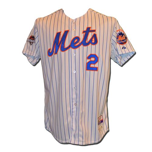 Photo of Juan Uribe #2 - Game Used White Pinstripe Jersey - 2015 Postseason - Mets vs. Dodgers - 10/13/15