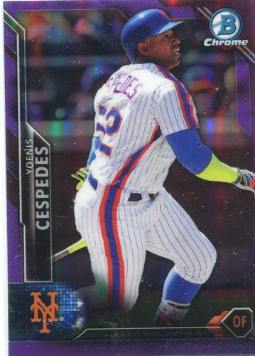 Photo of 2016 Bowman Chrome Purple Refractors #72 Yoenis Cespedes