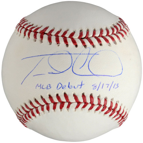 Photo of Travis d'Arnaud New York Mets Autographed Baseball with MLB Debut 8-17-13 Inscription