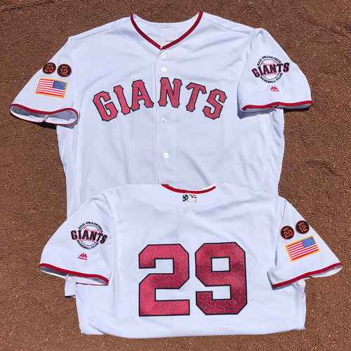 Photo of San Francisco Giants - 1x All-Star Jeff Samardzija - 2016 Game Used 4th of July Jersey