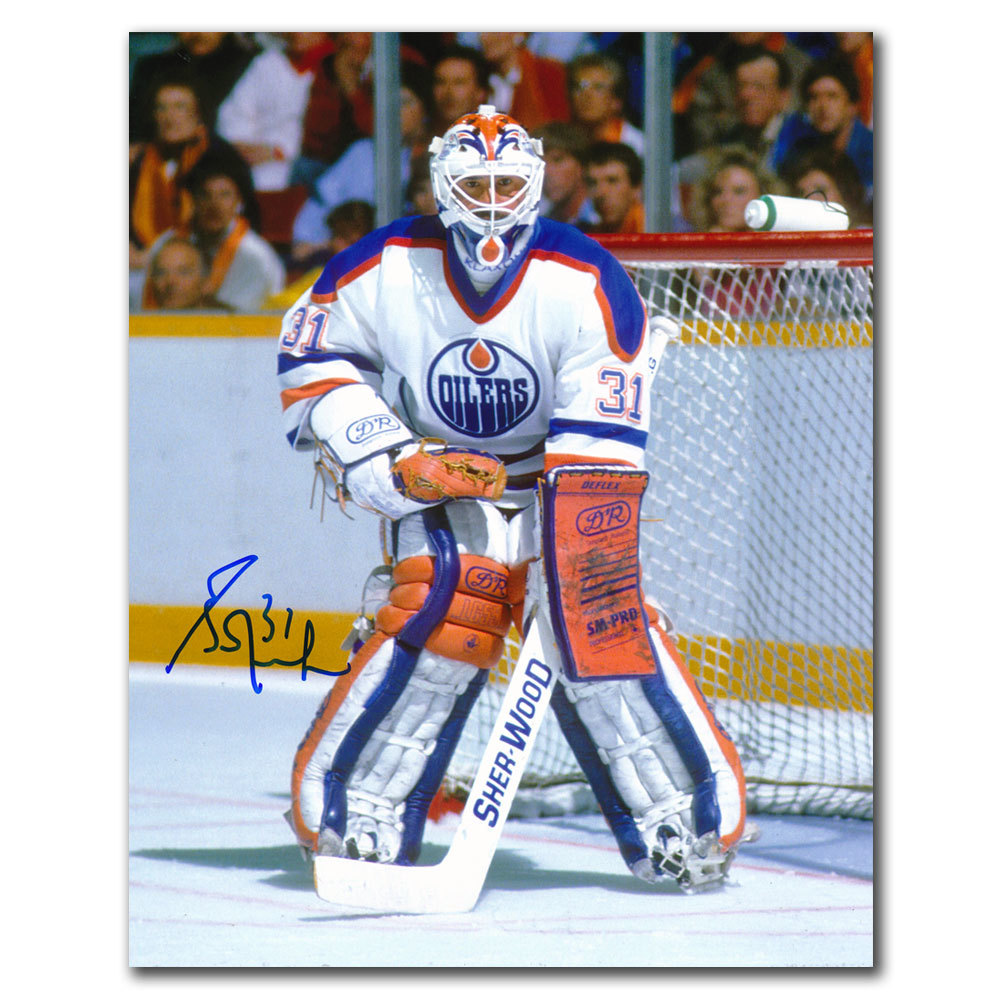 Grant Fuhr Edmonton Oilers WHITE JERSEY Autographed 8x10