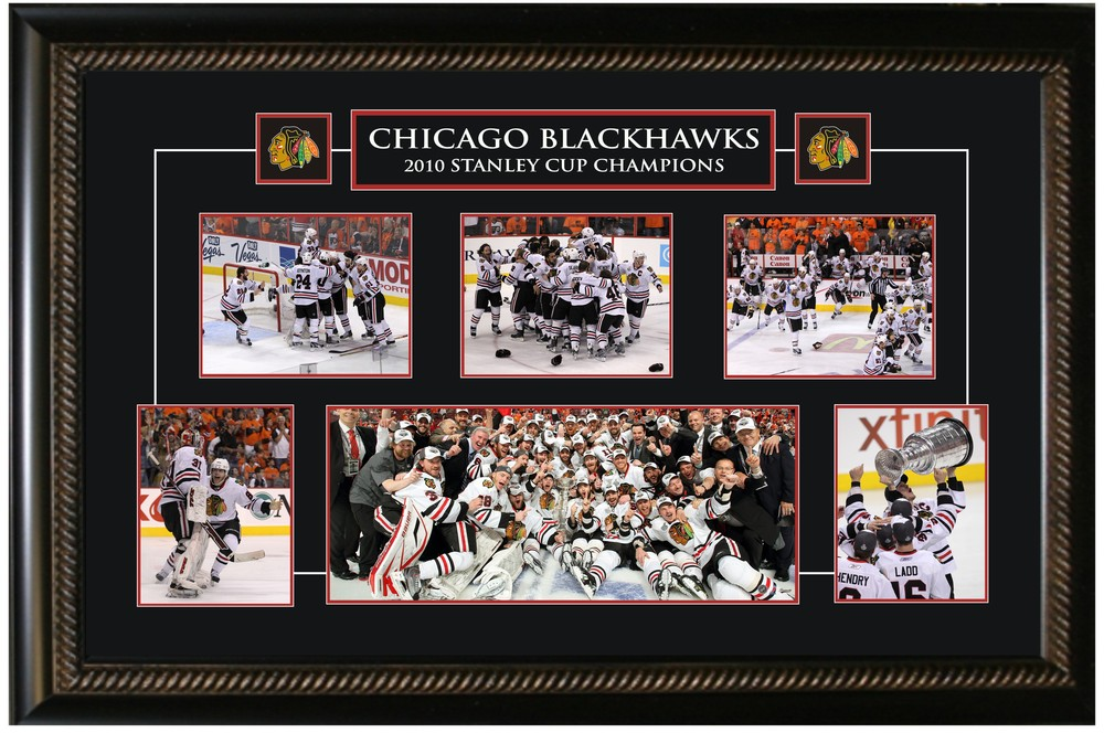 Chicago Blackhawks -  Framed Collage Etched Mat - 2010 Stanley Cup Celebration