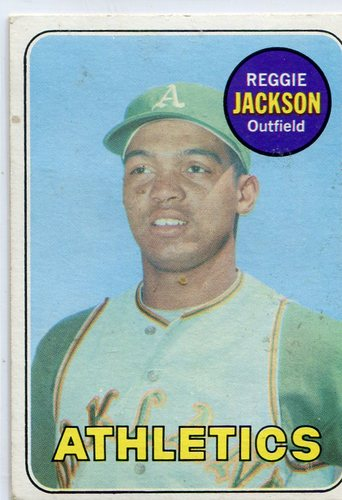 Photo of 1969 Topps #260 Reggie Jackson Rookie Card -- A's Hall of Famer