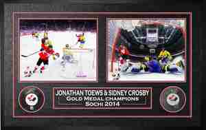 Sidney Crosby & Jonathan Toews - Signed & Framed Pucks - 2014 Team Canada
