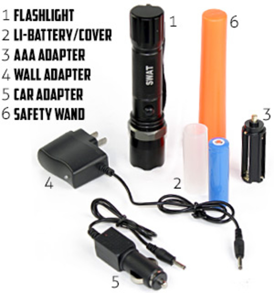 Multifunction 3W LED Rechargeable Flashlight DELUXE Kit