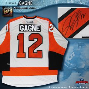 SIMON GAGNE Signed Philadelphia Flyers Reebok White Jersey