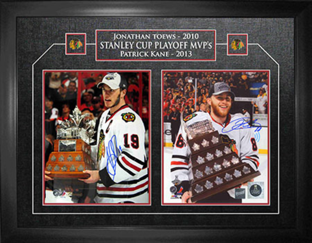 Patrick Kane & Jonathan Toews - Dual-Signed & Framed 8x10 Etched Mat - Conn Smythe Winners