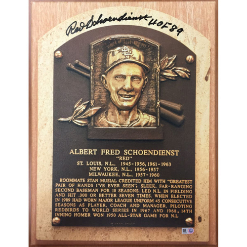 Cardinals Authentics: Red Schoendienst Hall of Fame Autographed Canvas
