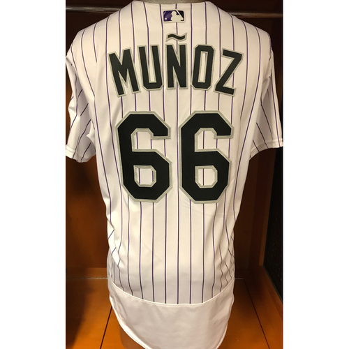 Photo of Colorado Rockies Aaron Munoz Game Used Jersey to Aid Hurricane Harvey Relief Efforts