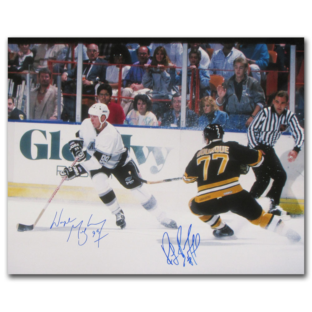 Wayne Gretzky & Ray Bourque Autographed 16X20 Photo (Los Angeles Kings, Boston Bruins)
