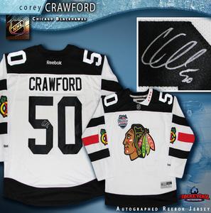 COREY CRAWFORD Signed Chicago Blackhawks 2016 Stadium Series Reebok White  Jersey