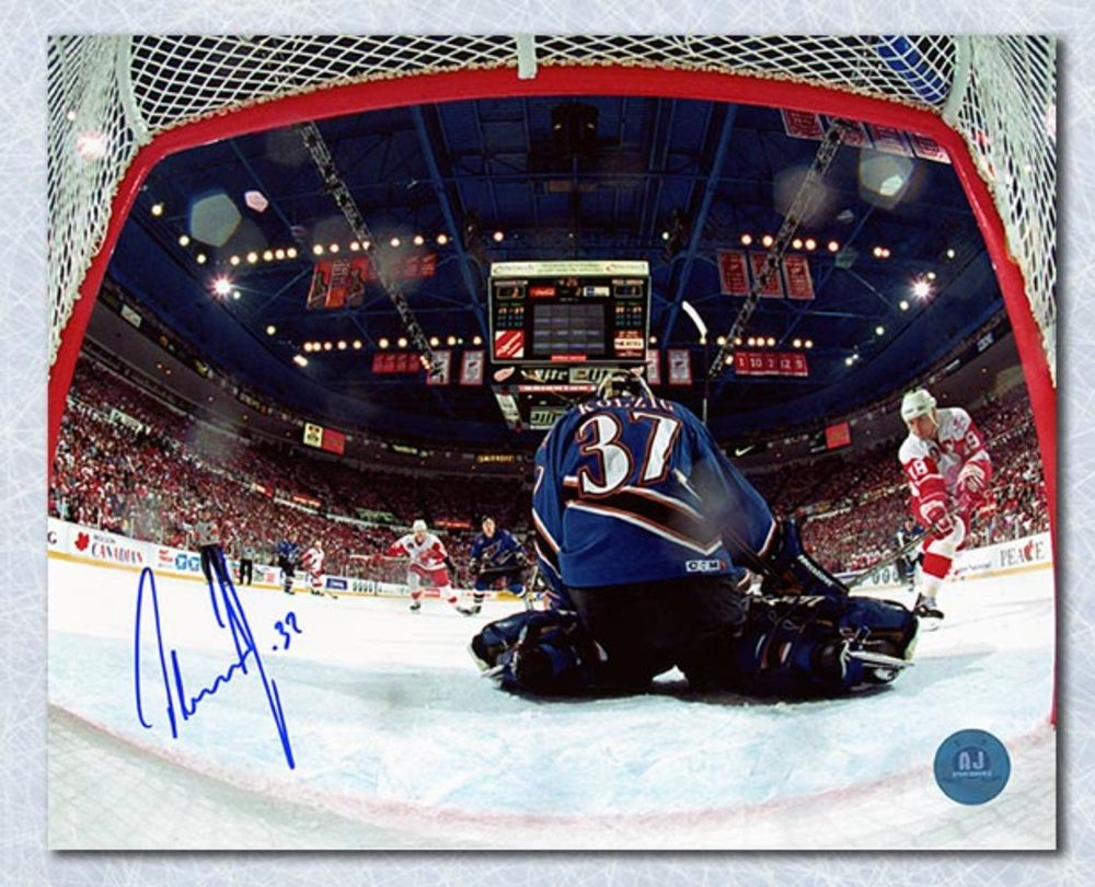 Olaf Kolzig Washinton Capitals Autographed 1998 Cup Finals Net-Cam 16x20 Photo