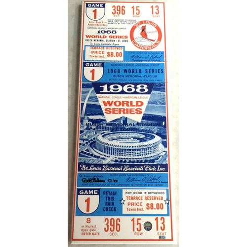 Photo of Cardinals Authentics: Bob Gibson Autographed and Inscribed 1968 World Series Mega Ticket