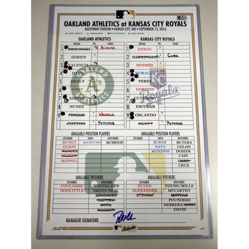 Photo of Game-Used Dugout Lineup Card - 9/13/16 vs KC (Cotton vs Duffy)