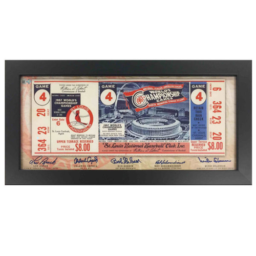 Photo of Cardinals Authentics: St. Louis Cardinals 1967 Replica Framed Ticket Autographed by Brock, Cepeda, Gibson, Schoendienst & Shannon