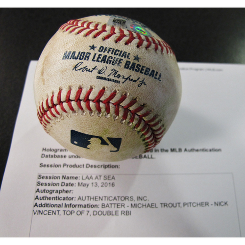 Photo of Game-Used Baseball Batter Mike Trout, Pitcher Nick Vincent, Top of 7th, Double RBI  5/13/16 LAA at SEA