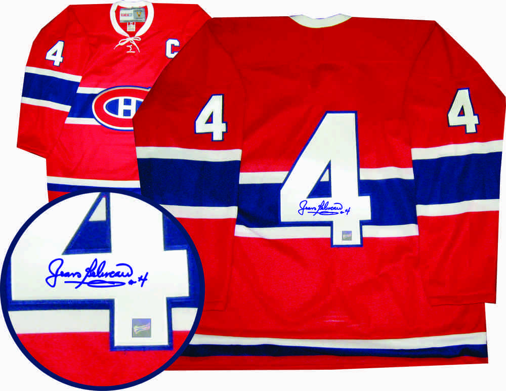 Jean Beliveau Signed Jersey Canadiens Dark Replica Vintage