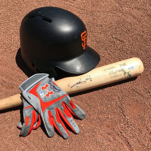 Photo of San Francisco Giants - 1x All-Star Joe Panik - Game-Used Helmet, Autographed Bat and Batting Gloves