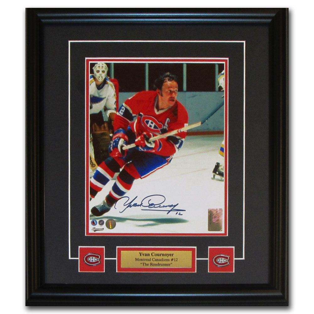 Yvan Cournoyer Autographed Montreal Canadiens Framed 8X10 Photo