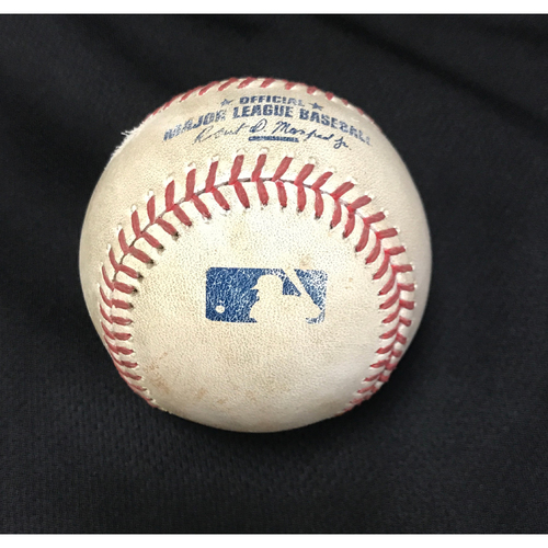 Photo of Game-Used Baseball - Matt Wieters Double, Wilmer Difo BB & Max Scherzer Foul Bunt vs. Zack Godley
