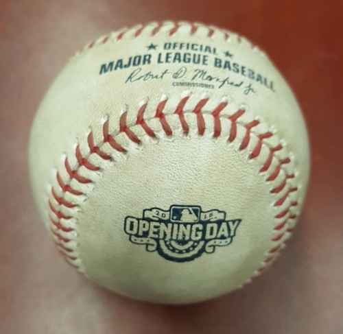 Authenticated Game Used Baseball - Home Opener 2016 - David Ortiz's 2nd double and 4th RBI of the season. Hit off Marcus Stroman in Top 3