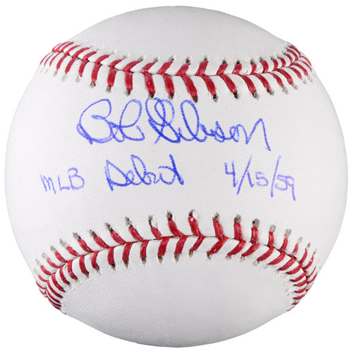 Bob Gibson St. Louis Cardinals Autographed Baseball with MLB Debut 4/15/59 Inscription