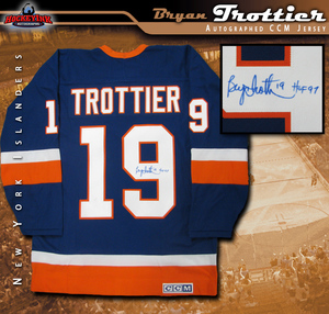 BRYAN TROTTIER Signed New York Islanders Blue CCM Jersey with HOF 97 Inscription