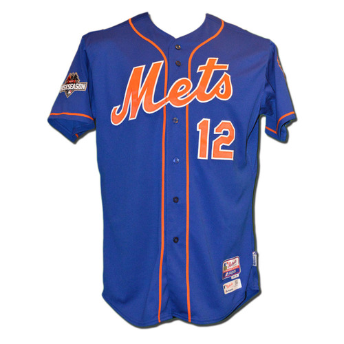 Photo of Juan Lagares #12 - MLB Authenticated Team Issued 2015 Postseason Jersey - 2015 Postseason Patch on Right Sleeve