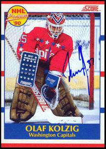 1990-91 Score Olaf Kolzig Autographed Rookie Card - Washington Capitals