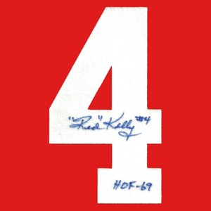 Red Kelly Autographed Detroit Red Wings Felt Sweater Number