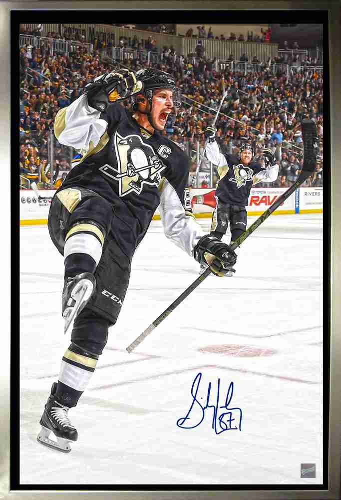Sidney Crosby - Signed & Framed 20x29 Celebration Canvas - Pittsburgh Penguins