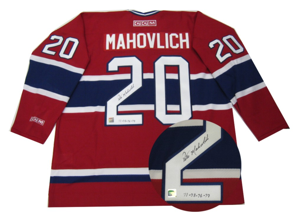 Pete Mahovlich Signed Jersey Canadiens Replica Dark Vintage