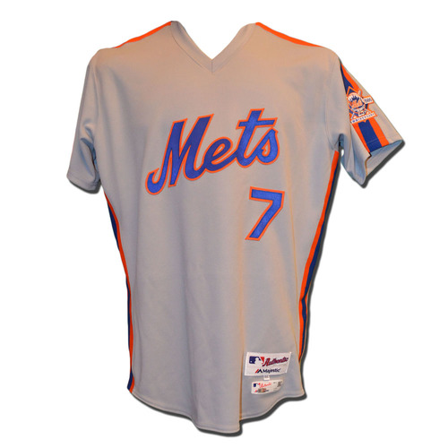 Photo of Travis d'Arnaud #7 - Team Issued 1986 Throwback Road Jersey - 2016 Season
