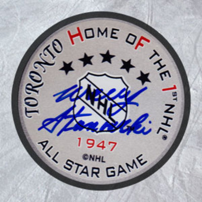 WALLY STANOWSKI 1947 All Star Game Autographed Hockey Puck *AJ Sports World*