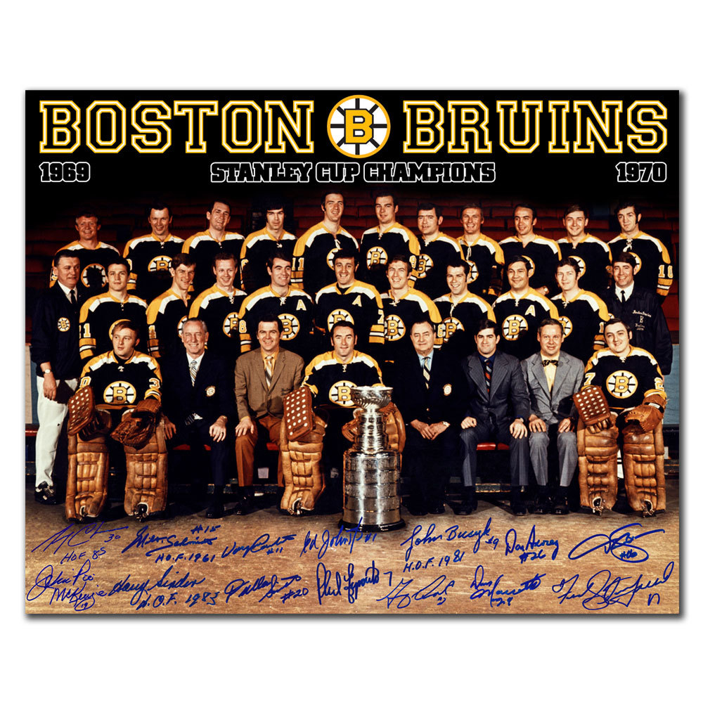 1970 Boston Bruins Stanley Cup Champions Team Autographed 16x20 Signed by 14