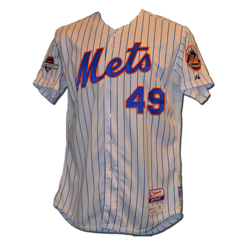 Photo of Jon Niese #49 - MLB Authenticated Team Issued 2015 Postseason Jersey - 2015 Postseason Patch on Right Sleeve