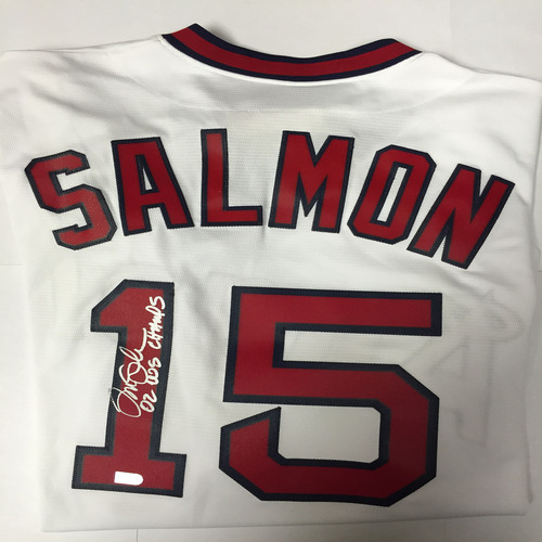 "Photo of Tim Salmon Autographed ""02 WS Champs"" Replica Angels Jersey"