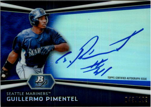 Photo of 2012 Bowman Platinum Prospect Autographs Blue Refractors #GP Guillermo Pimentel EXCH