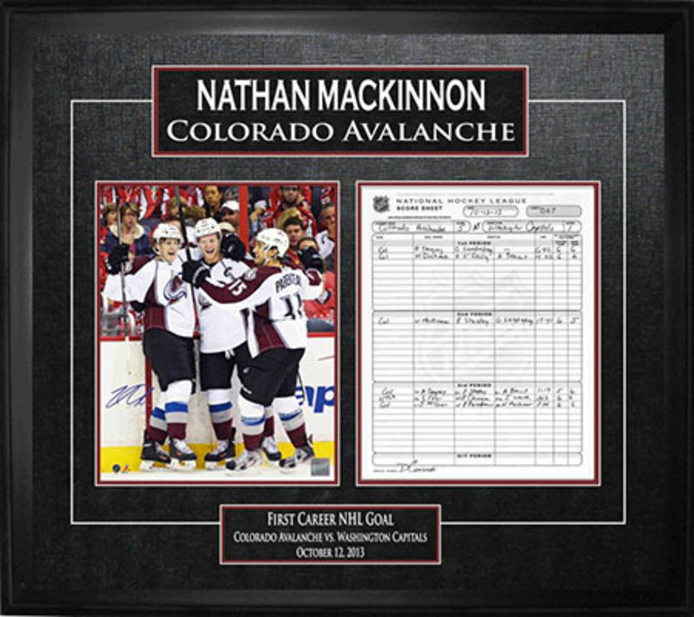 Nathan MacKinnon - Signed & Framed Scoresheet - First Goal Celebration