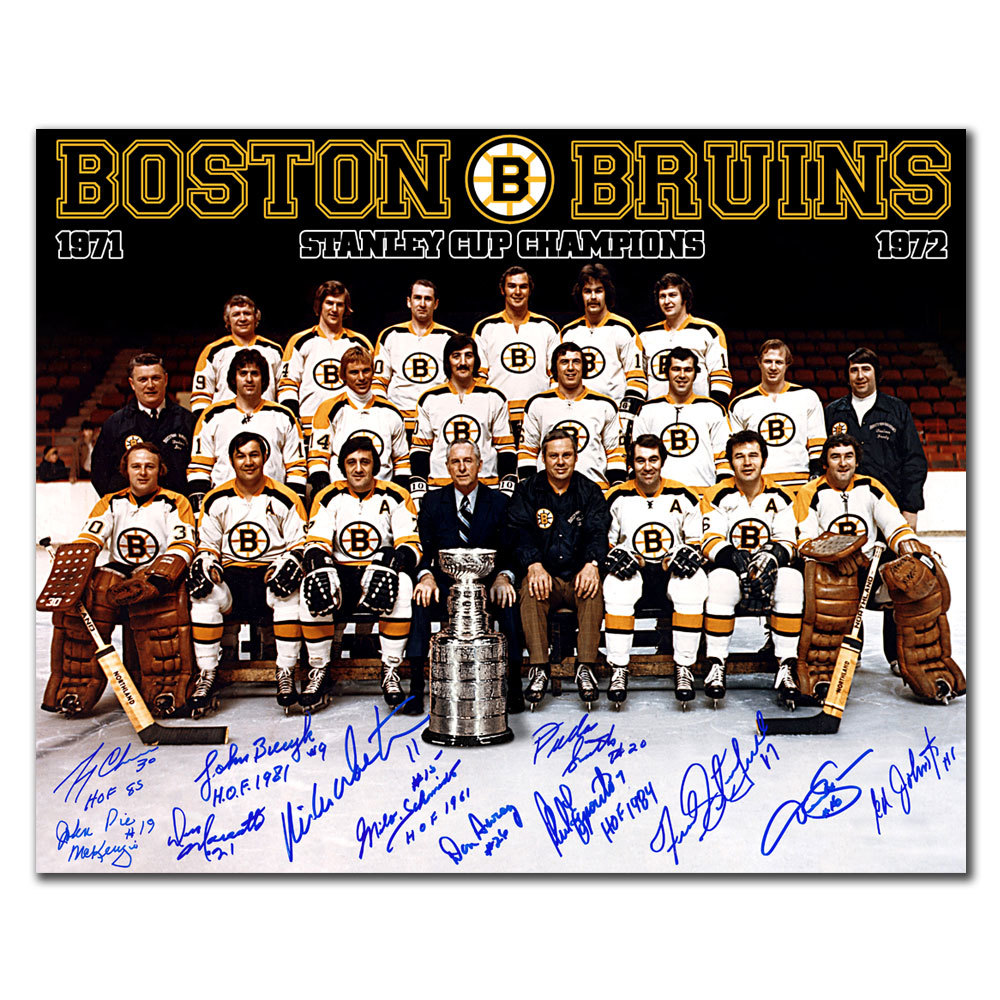1972 Boston Bruins Stanley Cup Champions Team Autographed 16x20 Signed by 12