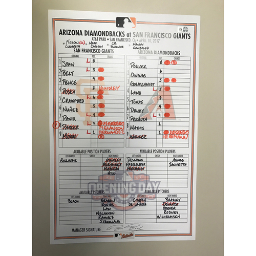 Photo of San Francisco Giants - Home Opening Day - Lineup Card with Manager's Signature: Bruce Bochy