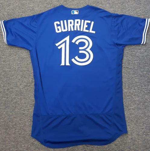 Authenticated Team Issued Jersey - #13 Lourdes Gurriel Jr. (2017 Season). Size 46.
