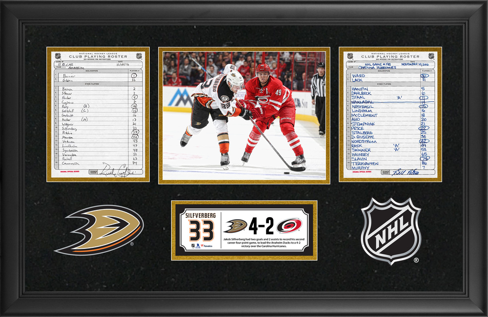 Anaheim Ducks Framed Original Line-Up Cards From November 10, 2016 vs. Carolina Hurricanes - Jakob Silfverberg's Second Career Four-Point Game