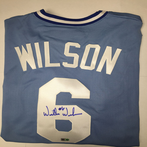 Photo of Willie Wilson Autographed Replica Royals Jersey