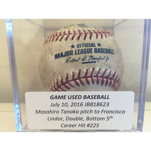 Photo of Game-Used Baseball: Francisco Lindor Double, Career Hit #225