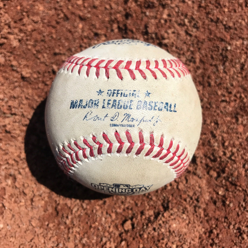 Photo of San Francisco Giants - Home Opening Day - Game Used Ball - B4 Brandon Crawford doubles off of Taijuan Walker, plus Nunez ground out, plus ball in dirt to Panik