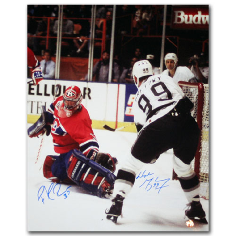 Wayne Gretzky & Patrick Roy Autographed 1993 Stanley Cup Final 16X20 Photo (Montreal Candiens vs. Los Angeles Kings)