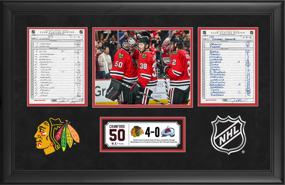Chicago Blackhawks Framed Original Line-Up Cards From November 3, 2016 vs. Colorado Avalanche - Corey Crawford's 38-Save Shutout