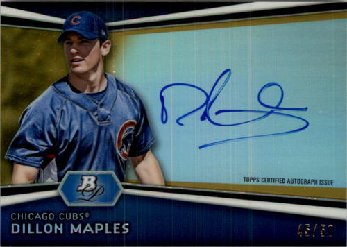 Photo of 2012 Bowman Platinum Prospect Autographs Gold Refractors #DM Dillon Maples