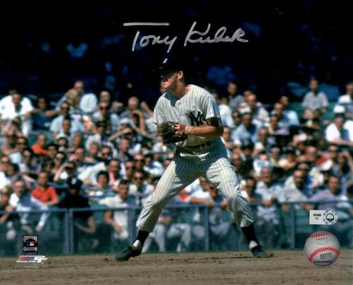 Photo of Tony Kubek Fielding Autographed 8x10